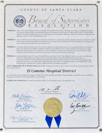 Image of Santa Clara County Board Resolution for Successful Partnership in providing medical care to residents